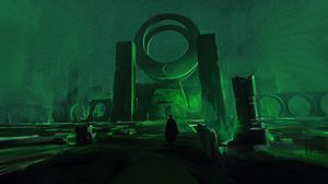 Preview wallpaper ruins, silhouette, art, green