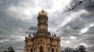 Preview wallpaper russia, church signs, dubrovicy, podolsk, clouds