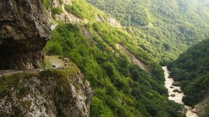 Preview wallpaper russia, circassian, gorge, wood, river, mountains