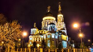 Preview wallpaper russia, kharkiv, cathedral, evening, lights, city