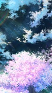 Preview wallpaper sakura, art, sky, anime, pink
