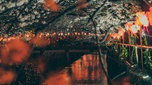 Preview wallpaper sakura, park, embankment, lights, bridge, river