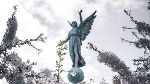 Preview wallpaper sakura, statue, angel, flowers, bloom, branches