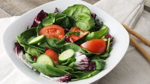 Preview wallpaper salad, vegetables, leaves, spinach, cucumbers