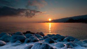 Preview wallpaper salt, stones, sea, coast, evening, decline