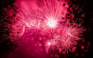 Preview wallpaper salute, fireworks, holiday, sparks, pink