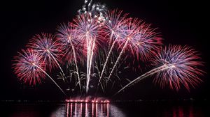 Preview wallpaper salute, holiday, fireworks, night, sky, horizon