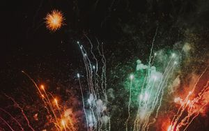 Preview wallpaper salute, holiday, fireworks, colorful, rays, sparks