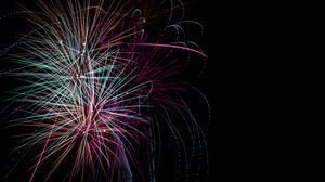 Preview wallpaper salute, holiday, sparks, fireworks, black