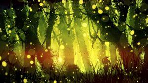 Preview wallpaper samurai, jungle, light, glare, bright, green