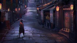 Preview wallpaper samurai, warrior, buildings, architecture, street, japan, art