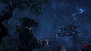 Preview wallpaper samurai, warrior, katana, rain, art, dark