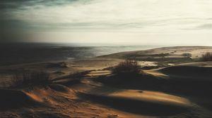 Preview wallpaper sand, grass, deserted