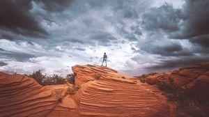 Preview wallpaper sand, hill, man, sky