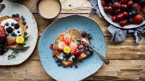 Preview wallpaper sandwich, berries, breakfast