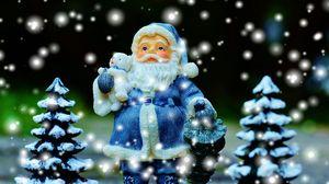 Preview wallpaper santa claus, christmas trees, new year, christmas