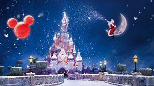 Preview wallpaper santa claus, magic, moon, snow, castle, balloons, holiday, christmas