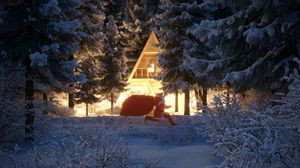 Preview wallpaper santa claus, new year, christmas, house, forest, snow