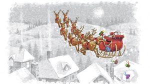 Preview wallpaper santa claus, reindeer, presents, sleigh, flying