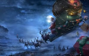 Preview wallpaper santa claus, reindeer, sleigh, flying, gifts, christmas
