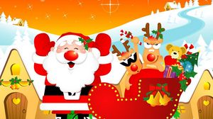 Preview wallpaper santa claus, reindeer, sleigh, gifts, home, holiday, christmas