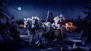 Preview wallpaper santa claus, sleigh, girl, horse, tree, night, christmas, bag, gifts