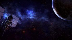 Preview wallpaper satellite, planet, universe, stars, nebula