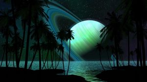 Preview wallpaper saturn, palm trees, water, darkness, fantasy