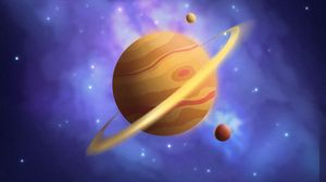 Preview wallpaper saturn, planet, mountains, space, art