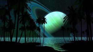 Preview wallpaper saturn, planet, palm trees, sky, light