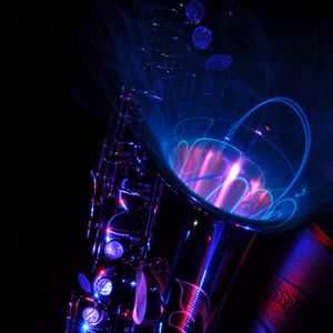 Preview wallpaper saxophone, lighting, abstraction, musical instrument