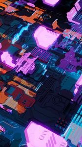 Preview wallpaper sci-fi, chip, structure, details, backlight