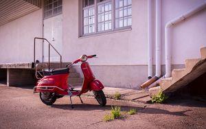 Preview wallpaper scooter, red, parking, asphalt