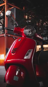 Preview wallpaper scooter, steering wheel, red, headlight