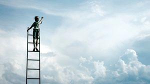 Preview wallpaper sculpture, boy, ladder, clouds, sky