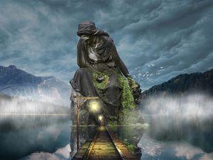 Preview wallpaper sculpture, photoshop, bridge, twilight, mountains, sky
