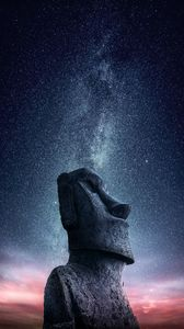 Preview wallpaper moai, statue, idol, easter island, starry sky