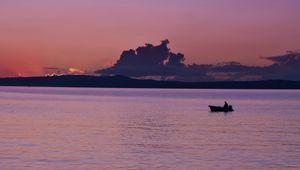 Preview wallpaper sea, boat, silhouette, dark, dusk