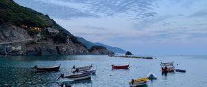 Preview wallpaper sea, boats, rock, island, landscape