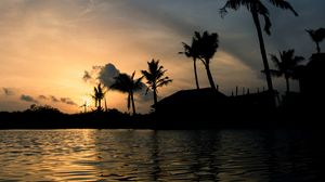Preview wallpaper sea, building, palm, sunset, india