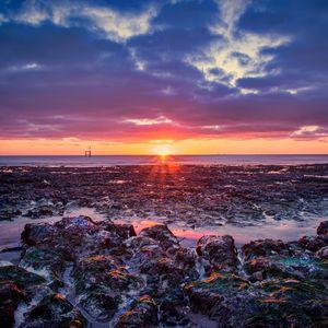 Preview wallpaper sea, coast, sunset, horizon, sky, twilight