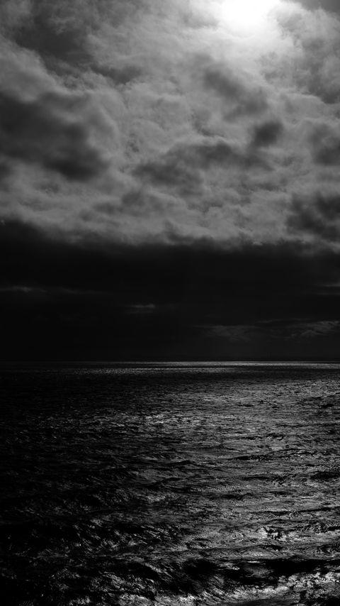 480x854 Wallpaper sea, horizon, bw, overcast, clouds, ripples
