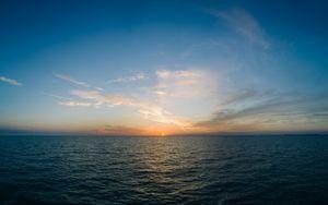 Preview wallpaper sea, horizon, sunset, clouds, sky