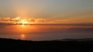 Preview wallpaper sea, horizon, sunset, sun, dark