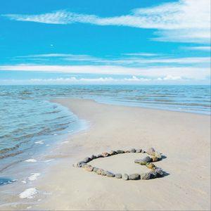 Preview wallpaper sea, love, romance, sun, water, sand, rocks, clouds, landscape, waves, beauty, coast, beach