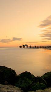 Preview wallpaper sea, pier, sunset, shore, landscape