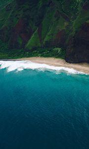 Preview wallpaper sea, rocks, moss, coast, surf