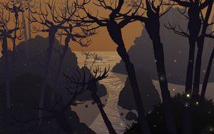 Preview wallpaper sea, rocks, trees, art, vector
