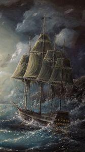 Preview wallpaper sea, sail, drawing, art, storm