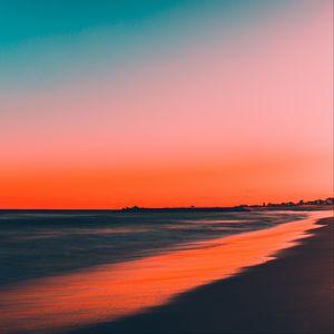 Preview wallpaper sea, shore, sunset, sky